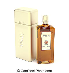 Whisky bottle and metal box