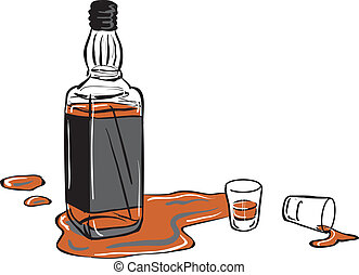 a whisky bottle and two shot glasses with some whisky spilled around them.