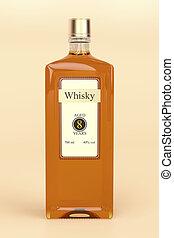 Whisky bottle on brown background