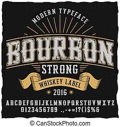 whisky, bourbon, carattere tipografico, manifesto