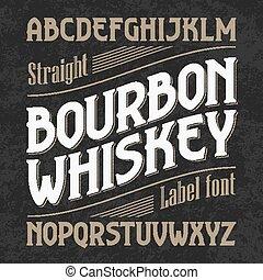 whisky, bourbon, font, etichetta