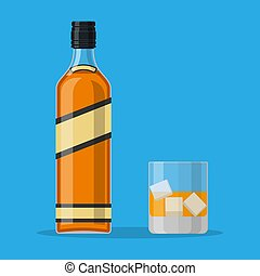 whisky, bourbon, ice., bouteille, verre