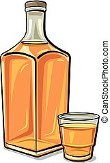 whisky, bouteille, verre