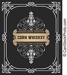 whisky, cadre, vieux, étiquette