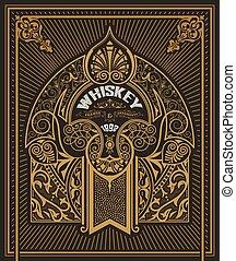 whisky, cadre, vieux, carte