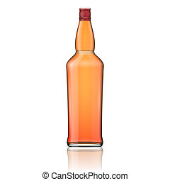 whisky, cap., bouteille rouge, verre