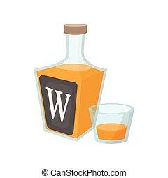 whisky, cartone animato, bottiglia, icona