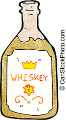 whisky, cartone animato, bottiglia