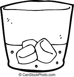 whisky, cartone animato, vetro