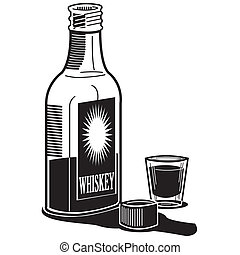 whisky, colpo whisky, bottiglia, vetro