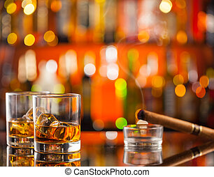 whisky, compteur, barre, boissons
