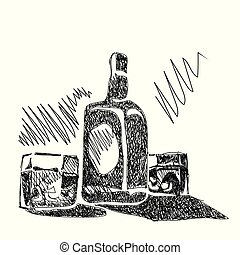 whisky, croquis, bouteille, lunettes