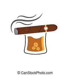 whisky, cubos, hielo, cigarro