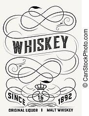 whisky, disegno, etichetta