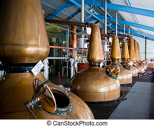 Whisky Distillery stills - Islay whisky distillery stills