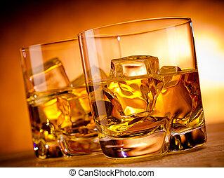 whisky, dos, botella