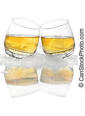 whisky, en, hielo