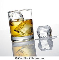 whisky, en, ijsblokje