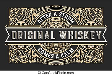 whisky, etichetta, ornamenti, vendemmia