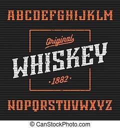 whisky, font, etichetta