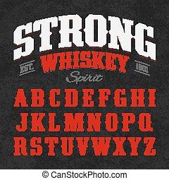 whisky, font, forte, etichetta