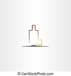 whisky glass and bottle vector icon