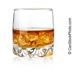 Whisky glass and ice isolated on white background