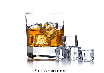 whisky, hielo, vidrio