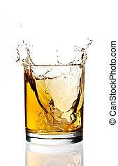 Whisky ice splash - Ice falling and splashing into a glass...