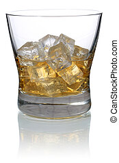 Whisky in a glass with ice cubes isolated