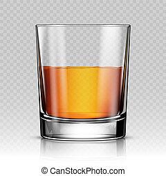 whisky, isolato, illustrazione, realistico, vettore, vetro