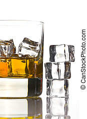 whisky, met, ijs, in, glas