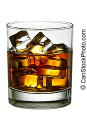 whisky, met, ijs kubeert, in, glas