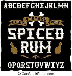 whisky, multa, etiqueta, fuente, /, vendimia, tipografía, para, alcohol, bebidas
