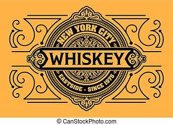whisky, occidental, label., design.