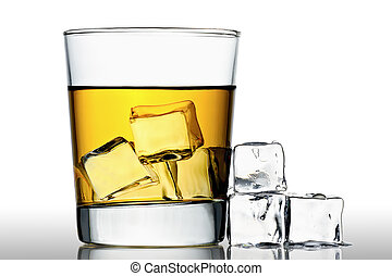 Whisky on the rocks - glass of whisky on the rocks with ice ...