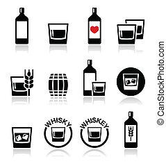 Whisky or Whiskey alcohol icons set