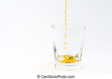 Whisky - Photo of glass with whisky against white background