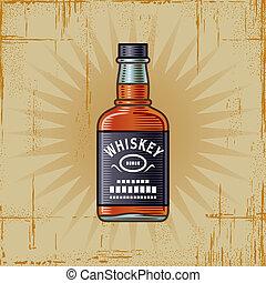 whisky, retro, botella