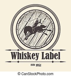 whisky, rodeo, barril, jinete, etiqueta