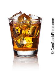whisky, scotch, ghiaccio, vetro