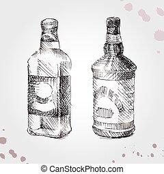 whisky, set, disegno, bottiglia