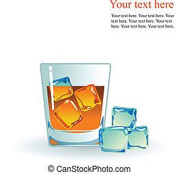 whisky, singolo, malto, ghiaccio