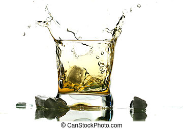 whisky splash alcohol drops isolated on white