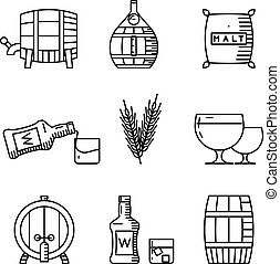 Whisky thin line icons. Industry outline vector signs -...