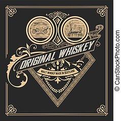 whisky, vecchio, etichetta