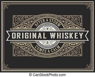 whisky, vecchio, label.