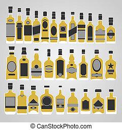 whisky, vector, conjunto, botella