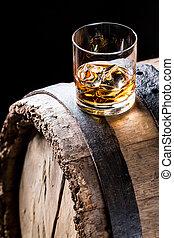 whisky, verre, glace, distillerie, sous-sol, bon
