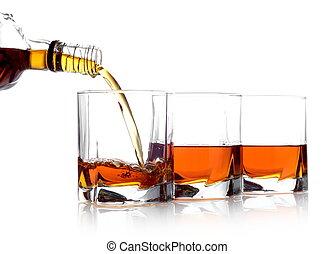whisky, vertido, tres anteojos